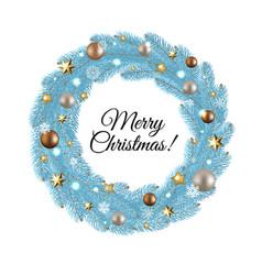 Blue merry christmas wreath vector