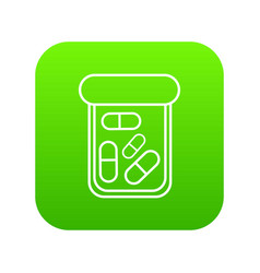 bottle drug icon green vector image