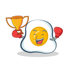 boxing fried egg character cartoon winner vector image