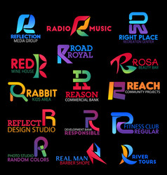 Business identity symbols with letter r vector