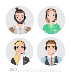 call center operator icons cartoon vector image