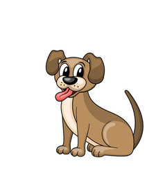 Cartoon dog sitting in collar funny pooch vector