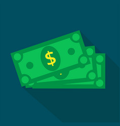 Cash icon in flat style dollar banknote green vector