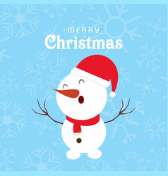 christmas patter background with snow man vector image