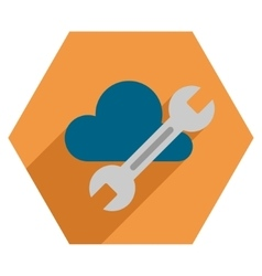 Cloud Tools Flat Hexagon Icon with Long Shadow vector
