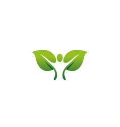 creative yoga person leaf logo vector image