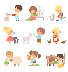 cute little boys and girls feeding animals set vector image