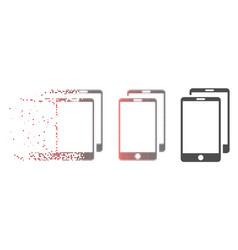 Disintegrating pixel halftone smartphones icon vector
