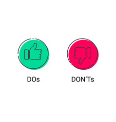 do and dont thumb up down thin line icons vector image