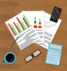 Documents with diagram and graph on table vector