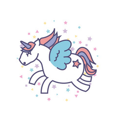 Drawing cute unicorn icon vector