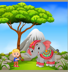elephant and photographer posing with mountain vector image