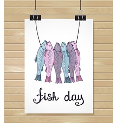 fish design background Fish poster Menu card vector image