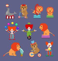 Flat set of circus animals and clowns vector