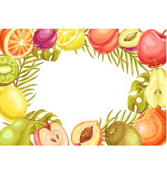 frame with ripe fruits and palm leaves vector image