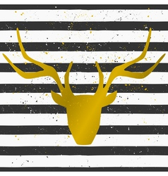 gold deer head on a striped pattern background vector image