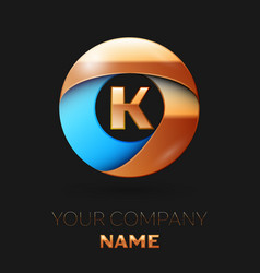 golden letter k logo symbol in golden-blue circle vector image