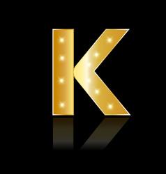 golden letter k shiny symbol vector image