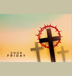 Good friday cross with thorn crown background vector