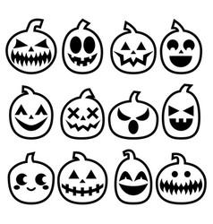 halloween pumpkins icon set scar vector image