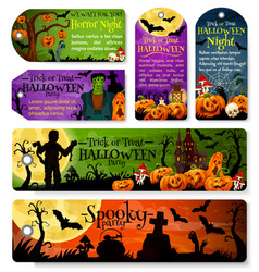 halloween tag or october holiday night party label vector image