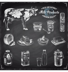hand drawn with milk products vector image