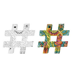 hand drawn zentangle hashtag vector image