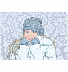 Happy girl in the winter vector