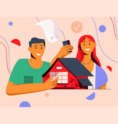 happy young couple is buying new house together vector image