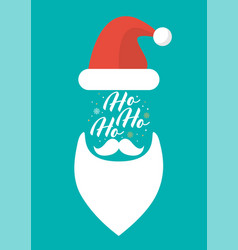 hat beard mustache and glasses santa with vector image