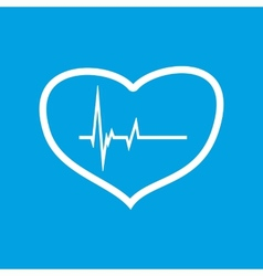 Heartbeat white icon vector image