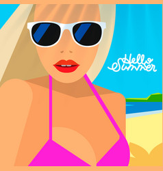 hello summer poster portrait of hot girl vector image