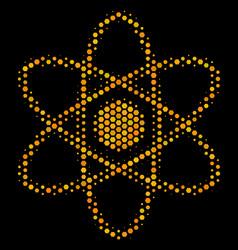 Hexagon halftone atom icon vector
