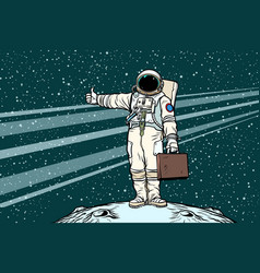 Hitchhiker astronaut with travel suitcase vector