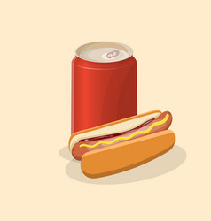 hot dog with soda in a tin - cute cartoon colored vector image