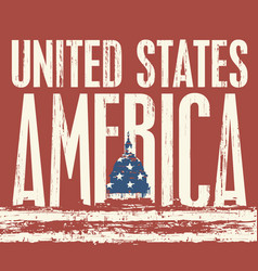 inscription united states america and us flag vector image