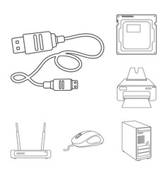 Isolated object of laptop and device sign set of vector