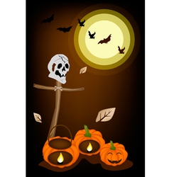 Jack-o-lantern pumpkins with wooden cross on night vector