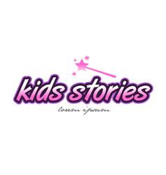 Kids stories word text logo icon design concept vector