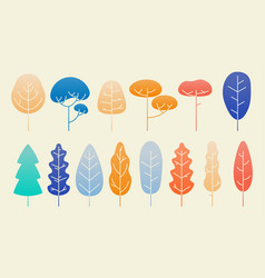 leaves and plants flat autumn design set vector image