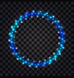 Led light round frame with blue neon glowing vector