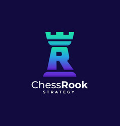 logo chess rook gradient colorful style vector image