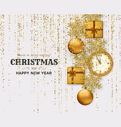 merry christmas background with shiny snowflakes vector image