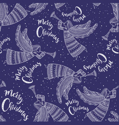 merry christmas seamless pattern with angel blue vector image