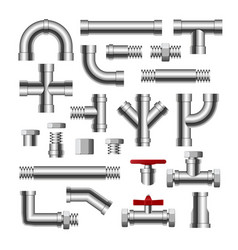 metal pipe water connection isolated pipeline vector image