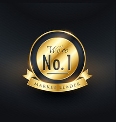 no 1 market leader golden label and badge design vector image