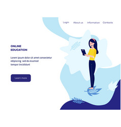 Online education concept girl student vector