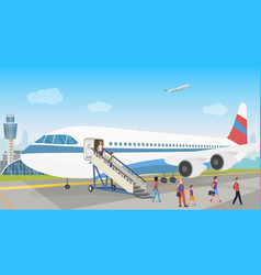 People landing from an airplane in airport vector