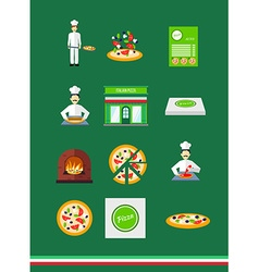 Pizza icons with pizzeria and chef set vector