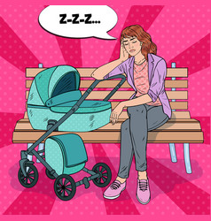 pop art sleepless young mother with baby stroller vector image